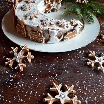 Vánoční jogurtový měsíc s kokosem a perníčky