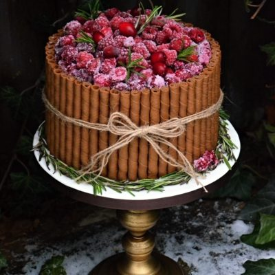 Trubičkový dort s malinami a brusinkami